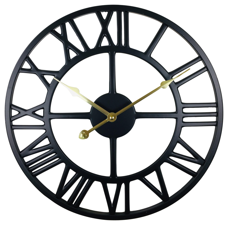 Black Metal Roman Numeral Wall Clock 39cm Man Sanctuary